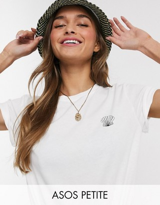 ASOS DESIGN Petite t-shirt with sketchy shell motif in organic cotton
