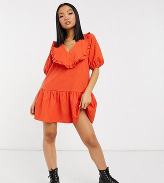 ASOS DESIGN Petite frill v-neck mini dress with pep hem in red