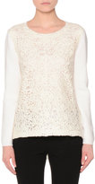 Agnona Long-Sleeve Lace-Embroidered Sweater, Ivory