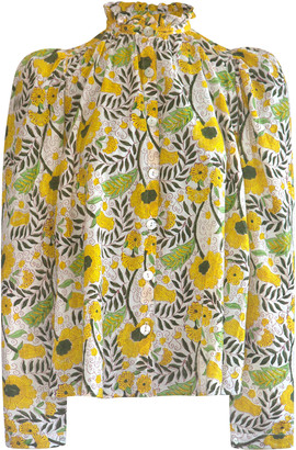 Alix of Bohemia Annabel Puff-Sleeve Sunflower-Printed Cotton Top