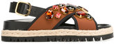 Marni espadrille Fussbett sandals - women - Calf Leather/Nylon/rubber - 36