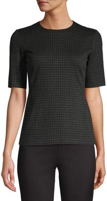 Theory Houndstooth Short-Sleeve Top