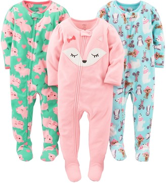 Carter's Simple Joys by Baby Girls' 3-Pack Flame Resistant Fleece Footed Pajamas