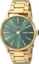 Nixon Sentry SS A3561919-00. Gold/Green Sunray Men's Watch (42mm Gold/Green Sunray Watch Case. 23-20mm Gold Band)