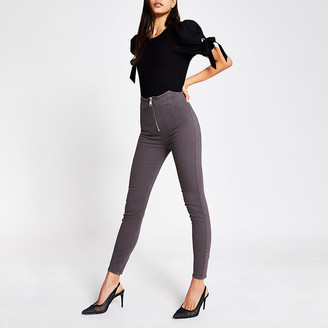 River Island Grey high waist zip front skinny jeans