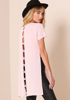 Missy Empire Bella Baby Pink Caged Back Detail Longline Top