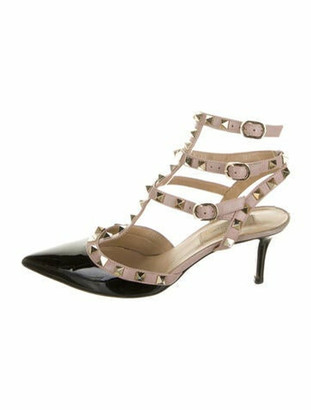 Valentino Leather Studded Accents T-Strap Pumps Black