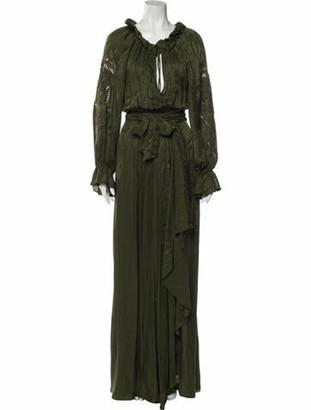Dundas Tie Neck Long Dress Green