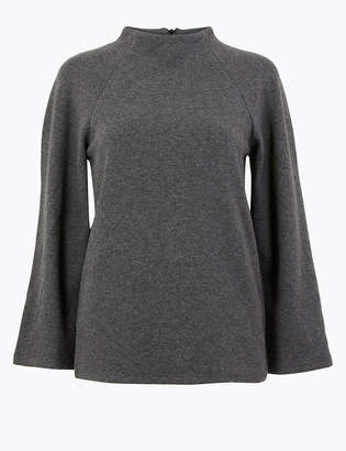 Marks and Spencer Cotton Blend 3/4 Sleeve Sweatshirt