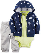 Carter's 3-Pc. Cotton Surf-Print Hoodie, Bodysuit & Pants Set, Baby Boys (0-24 months)