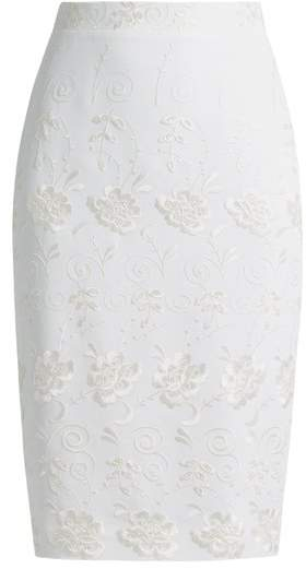 Givenchy Floral Embroidery Stretch Crepe Skirt - Womens - White