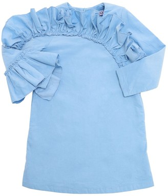 Moque Cotton Poplin Dress W/ Ruffles