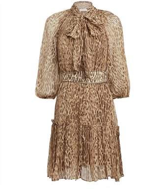Zimmermann Espionage Leopard Print Silk Dress