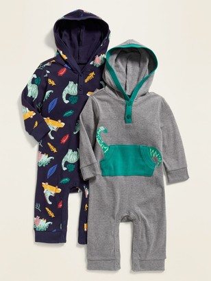 Old Navy Hooded Printed Henley One-Piece 2-Pack for Baby
