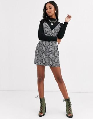 Asos Design DESIGN denim metallic snake fit and flare mini dress-Grey