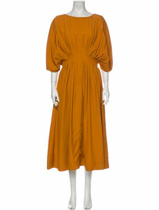 Co Scoop Neck Midi Length Dress Orange