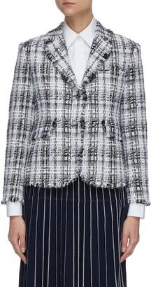 Thom Browne Unconstructed oversized fray tweed jacket