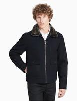 Calvin Klein Cashmere Blend Faux Fur Jacket