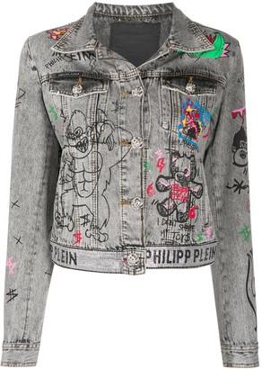 Philipp Plein Graffiti print denim jacket