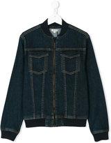 Kenzo zip denim bomber jacket - kids - Cotton/Spandex/Elastane - 14 yrs
