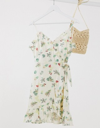Gilli wrap front mini dress in ditsy floral