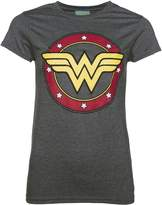 TruffleShuffle Ladies Charcoal Marl Wonder Woman Circle Logo T Shirt
