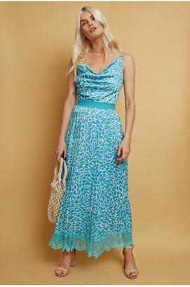 Little Mistress Merida Aqua Print Pleated Hem Midaxi Dress