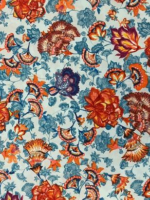 Marvic Fabrics Floral Print Fabric, Orange/Blue