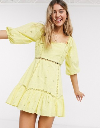 ASOS DESIGN lemon broderie square neck mini skater dress with lace inserts in yellow