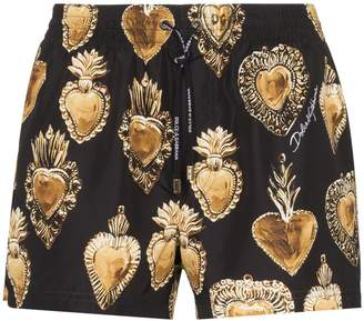 Dolce & Gabbana heart print swimming trunks