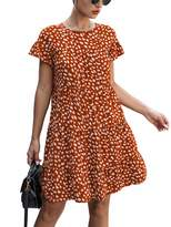 Kirundo KIRUNDO 2020 Summer Women's Ruffle Mini Dress Short Sleeves Leopard Floral Round Neck Loose Pleated Dress (Medium