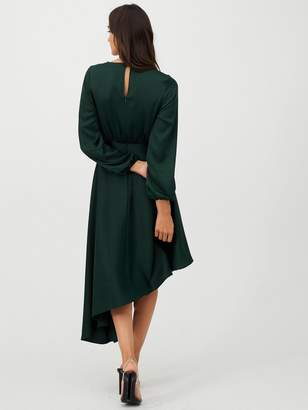 Very Blouson Sleeve Satin Midi Dress - Green