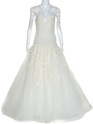 ZUHAIR MURAD Mariage White Embroidered Embellished Tulle Wedding Gown M