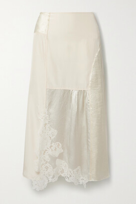 Acne Studios - Paneled Corded Lace-trimmed Hammered-satin And Shell Midi Skirt - Ecru