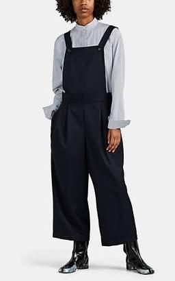 Comme des Garcons Women's Wool Twill Wide-Leg Overalls - Navy