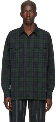 Kozaburo Green and Blue Flannel Check Shirt