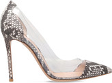 Gianvito Rossi Calabria snake-embossed leather courts