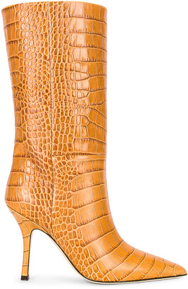 Paris Texas Embossed Croco Mama Mid Calf Boot in Noce | FWRD