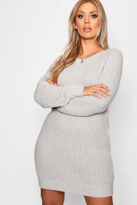 boohoo Plus Soft Knit Jumper Dress