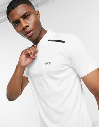 BOSS Athleisure Philix zip collar slim fit polo in white