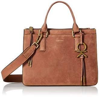 Calvin Klein Brynn Nubuck Pebble Leather Top Zip Satchel