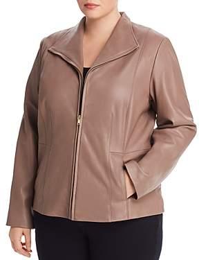 Cole Haan Plus Leather Zip Jacket
