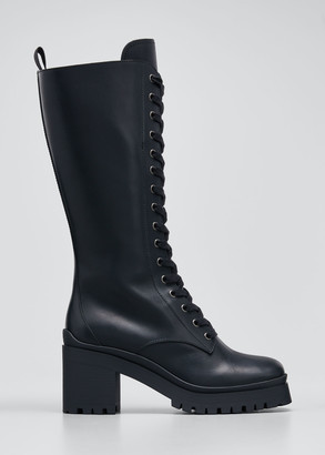 Miu Miu Leather Lace-Up Tall Moto Boots