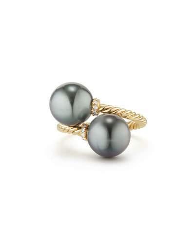 David Yurman Solari 18k Tahitian Pearl Bypass Ring w/ Diamonds, Size 6
