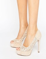 Little Mistress Nude Peep Toe Stilettos With Floral Lace Overlay