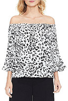 Vince Camuto Pleated Animal Whispers Blouse