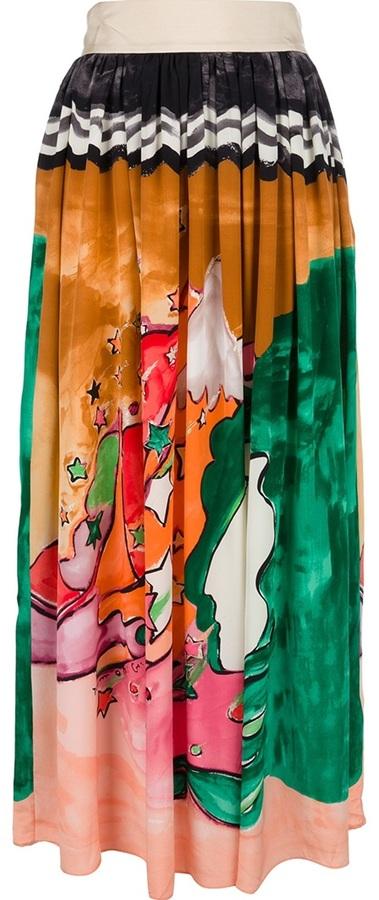 Tsumori Chisato pleated print maxi skirt