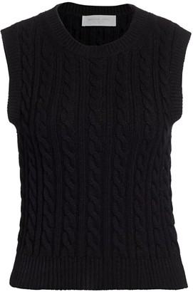 Michael Kors Sleeveless Cashmere Cable-Knit Sweater
