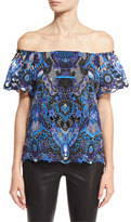 Alice + Olivia Maxie Off-the-Shoulder Guipure Lace Top