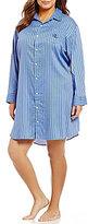 Lauren Ralph Lauren Plus His Shirt Striped Sateen Sleepshirt